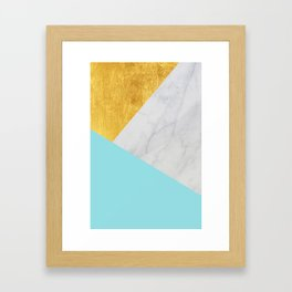 Carrara marble with gold and Pantone Island Paradise color Framed Art Print