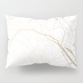 Paris Gold and White Street Map Pillow Sham