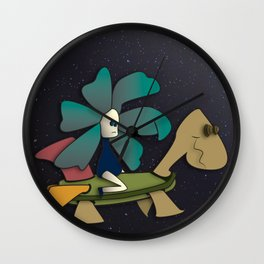 """Going to Unexpected Places with RoboTurtle"" Flowerkid Wall Clock"