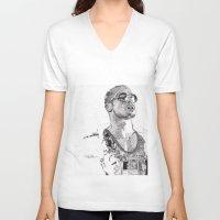 tyler spangler V-neck T-shirts featuring Tyler Durden by Rik Reimert