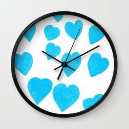Many Blue Hearts Wall Clock