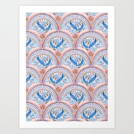 Art Deco Fresco in Sky Blue and Coral Art Print