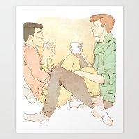 klaine Art Prints featuring cutesy klaine  by suitfer