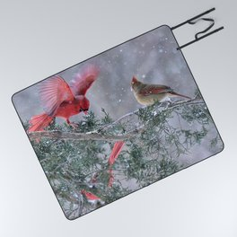 Cardinals Jostling on a Branch in a Snow Storm Picnic Blanket