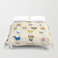 alphabet Duvet Covers featuring Alphabet by Lara Lockwood