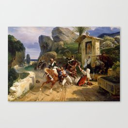 Classical Masterpiece Italian Brigands Surprised by Papal Troops by Horace Vernet Canvas Print