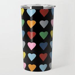 64 Hearts Black Travel Mug