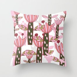flower pink contemporary kids nursery Throw Pillow