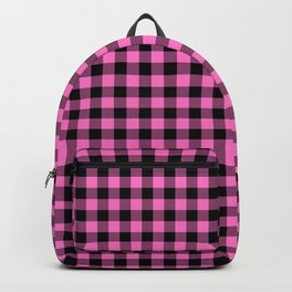 Classic Pink Country Cottage Summer Buffalo Plaid Backpack