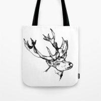 antler Tote Bags featuring deer antler by oslacrimale