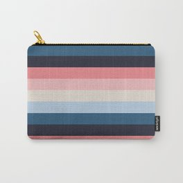 Blue Pink Retro Horizontal Stripes Carry-All Pouch