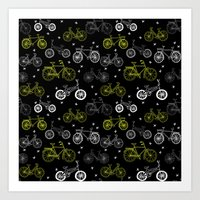 Bicycles cycle pattern black and white by andrea lauren Art Print