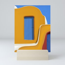 The Yellow Wall - Santorini, Greece - Minimalist Travel Print - Romantic Coastal Vibes Mini Art Print
