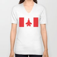 contemporary V-neck T-shirts featuring Contemporary Canada by Meg Harder