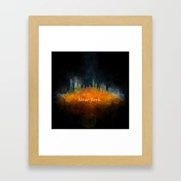 New York City Skyline Hq V04 Framed Art Print