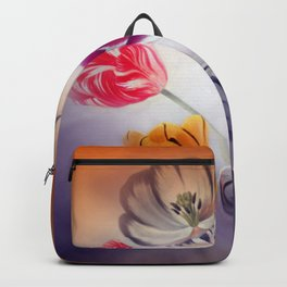 painted tulips on pastell background -b- Backpack