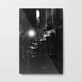 Clinton Hill Stoop At Night Metal Print
