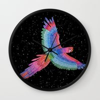 parrot Wall Clocks featuring Parrot by Luna Portnoi