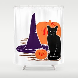 Witch Cat Pumpkin Woodcut Halloween Design Shower Curtain