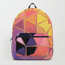 yellow pink violet black sqaure Backpack