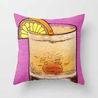 drink Throw Pillows featuring DRINK  by MR VELA
