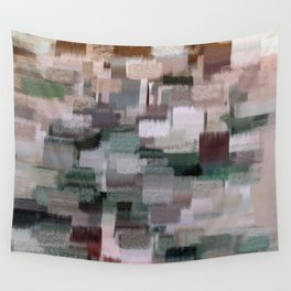 abstract colorful pastel drawing green brown tones Wall Tapestry