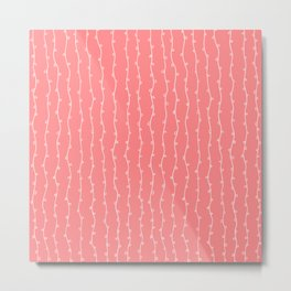 Willow Stripes - Coral Pink Metal Print