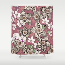Spotted stapelia flowers and Orchid Shower Curtain