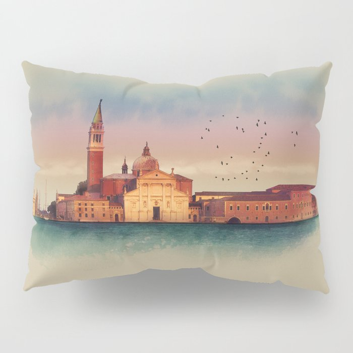 Soft watercolor sunset with views of San Giorgio island, Venice, Italy. Pillow Sham