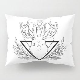 Lunar Rabbit / Jackalope // Black Pillow Sham