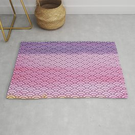 Pink/Purple/Yellow Watercolor/Paint Seigaiha Pattern Rug