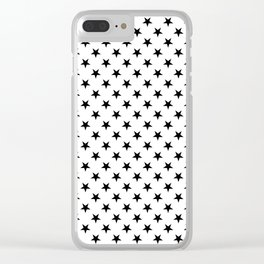 Black on White Stars Clear iPhone Case