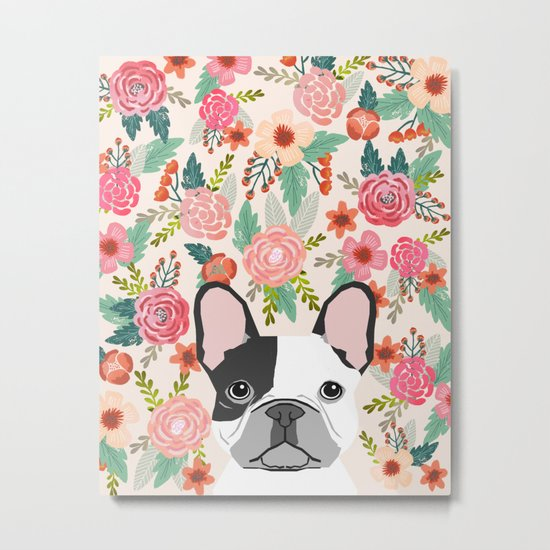 French Bulldog florals cute spring summer dog gifts bright happy frenchie puppy dog portraits  Metal Print