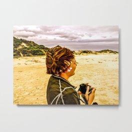 Girl and Camera Metal Print