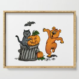 Happy Halloween with Cat, Bat, Dog and Spider Serving Tray