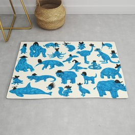 Blue Animals Black Hats Rug