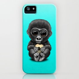 Cute Baby Gorilla With Football Soccer Ball iPhone Case