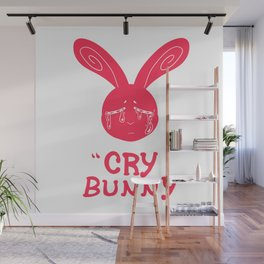 Cry Baby Cry Bunny Pink Wall Mural
