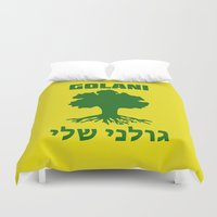 israel Duvet Covers featuring Israel Defense Forces - Golani Warrior by crouchingpixel