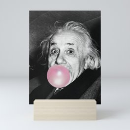 Bubble Gum Albert Einstein humour photography / photograph blowing bubble gum bubble Mini Art Print