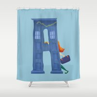 amy pond Shower Curtains featuring A for Amy Pond by CydGraphics