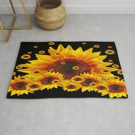 Raining Yellow Sunflowers Decorative Black Pattern  Rug