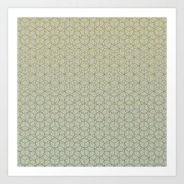 Tessellation - Culture Clash - Polytone Khaki / Sea-green Art Print