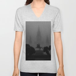 New Orleans, Jackson Square in fog, French Quarter black and white photograph / black and white photography Unisex V-Neck