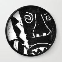bull Wall Clocks featuring Bull by Hadar Geva