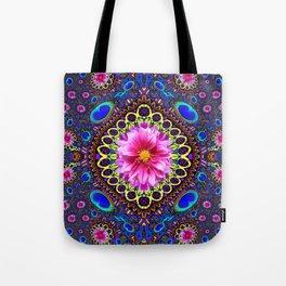 BOHEMIAN  FUCHSIA FLORALS & PEACOCK EYES PURPLE ART Tote Bag