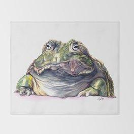 Bullfrog Snacking Throw Blanket