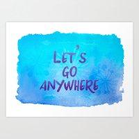 Let's go Anywhere - Boho Wanderlust Watercolor Art Print