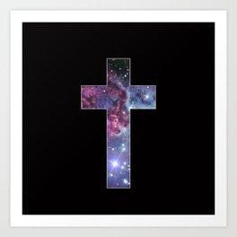 Galaxy Cross Art Print