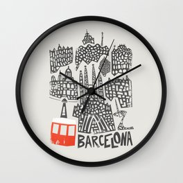 Barcelona Cityscape Wall Clock